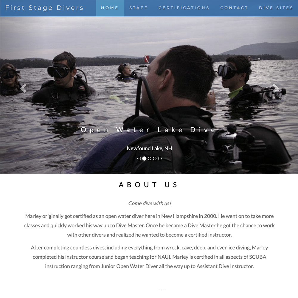 First Stage Divers Website